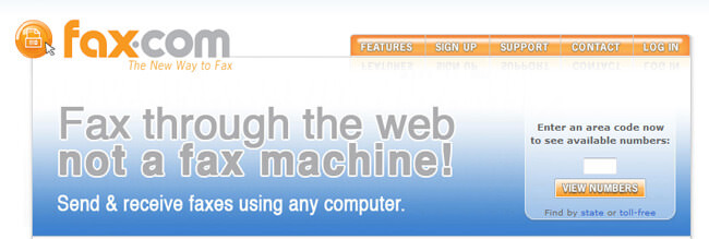 Fax.com homepage