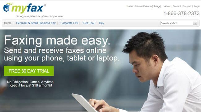 MyFax homepage