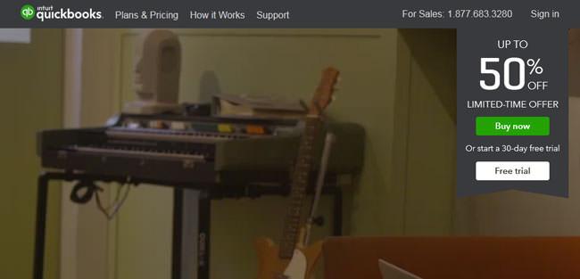QuickBooks homepage