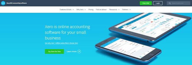 Xero homepage
