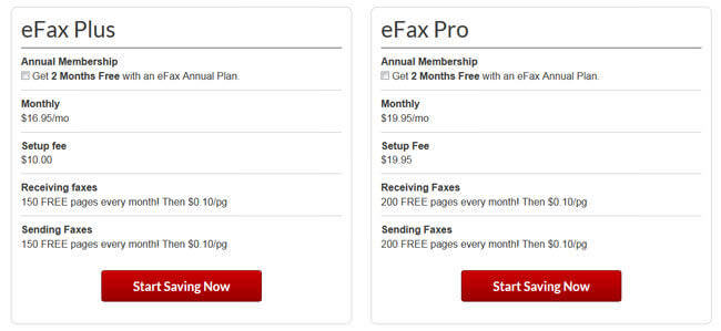 eFax pricing